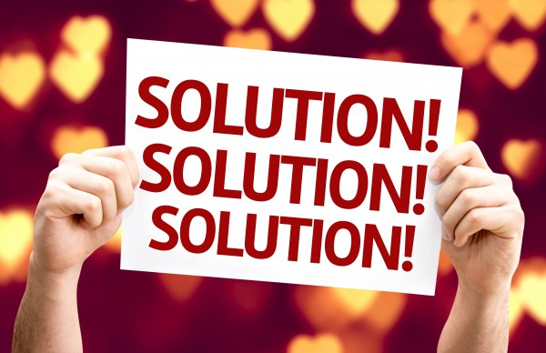 Solution card with heart bokeh background